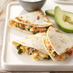 Spinach Quesadillas Recipe from Taste of Home -- shared by Pam Kaiser of Mansfield, Missouri