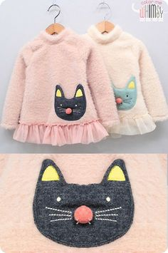 Fluffy Kitty Tunic. Girls are cute and warm this winter.