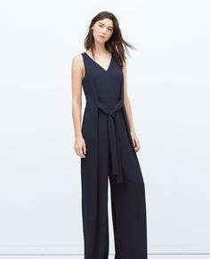 ZARA - NEW THIS WEEK - LONG JUMPSUIT WITH TIE WAIST