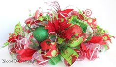 Christmas Centerpiece Red and Green Holidays by NicoleDCreations