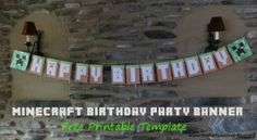 Free Printable Minecraft Party Banner1