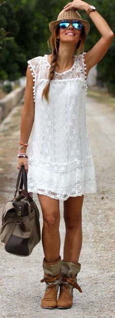 Boho Outfit Ideas - white sleeveless lace with boho booties leather handbag for Bohemain outfits.