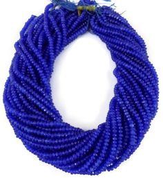 """2 Strand Ink Blue Chalcedony Gemstone Faceted Rondelle Beads 4mm 13.5"""" Long…"""