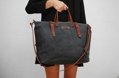 waxed canvas bag with leather handles and closures,charcoal color