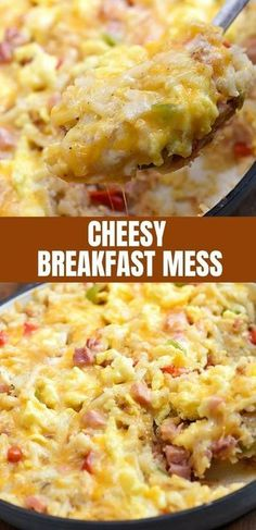Breakfast Mess with hash browns, ham, scrambled eggs, and cheese is hearty and tasty casserole thats sure to be a family favorite. Its easy to make and perfect for a large crowd. white christmas,breakfast and brunch Breakfast For A Crowd, Best Breakfast Recipes, Breakfast Dishes, Breakfast Time, Breakfast Mess Recipe, Breakfast Skillet, Breakfast Casserole With Ham, Breakfast Ideas With Eggs, Ham And Egg Casserole