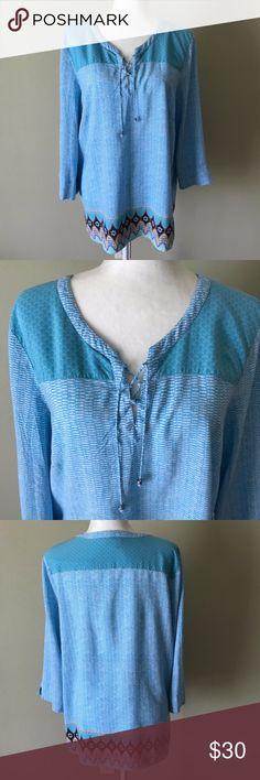 J. Jill Rayon Blue Border Tunic Top XL J. Jill border tunic top.   Rayon Size: XL J. Jill Tops Tunics