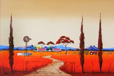 Pieter van Heerden - Ploughing the Fields x Colored Pencil Artwork, Colored Pencils, Abstract Paintings, Landscape Paintings, South African Artists, Encaustic Art, Naive Art, Painting Lessons, Puzzles
