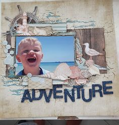 I used the kaisercraft uncharted waters collection for this layout. Beach Scrapbook Layouts, Scrapbook Designs, Travel Scrapbook, Scrapbooking Layouts, Scrapbook Pages, Anchor Paper, Wave Stencil, Fish Pool, Cut The Ropes