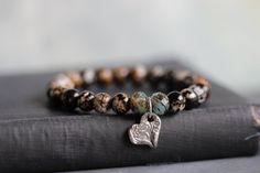 Leopard Agate Stretch Bracelet // Fine Silver HEART Charm // Stacking Bracelets on Etsy, $28.00