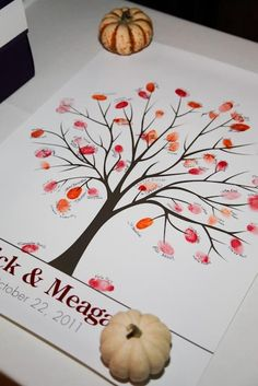 Awesome guest book idea, have different colored ink pads for guests to thumb/finger print by their name, of course you'd want wipes for them wipe their fingers. Diy Wedding Planner, Wedding Planning, Fall Wedding, Dream Wedding, Couple Shower, Cute Wedding Ideas, Bridal Shower Decorations, Autumn Theme, Wedding Guest Book