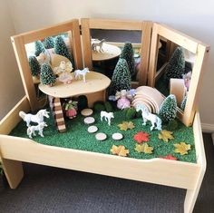 Creating small worlds for my little ones is my favourite past time ✨ 🌟 Tap the pic to see where all our goodies are from and be sure to swipe across to get a closer look 😍 Reggio Emilia, Diy For Kids, Crafts For Kids, Childcare Rooms, Toddler Rooms, Toddler Play Table, Sensory Table, Sensory Play, Educational Toys For Toddlers