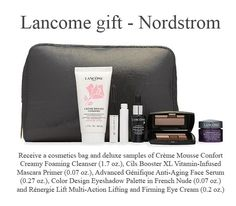 Yours free with any $49.50 Lancome purchase Lancome Gift Set, Lancome Gift With Purchase, Mascara Primer, Face Serum, Eyeshadow Palette, Cosmetic Bag, Cleanser, Mousse, Nordstrom