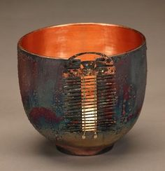 Ceramics, Marc Jenesel - Raku Pot with Patinated Metal