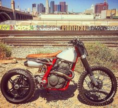 """Death Crusher"" Honda #NX650 by @hutchbilt shot w/ @digicock and @superrushan. #tracker #supermoto"