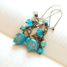 Blue Sugar Skull Earrings. Halloween Jewelry.. $12.00, via Etsy.