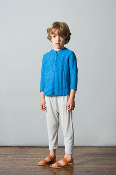 Santorini Shirt, Indigo Blue / Mayotte Trousers, Ice Blue. Caramel Baby & Child. www.caramel-shop.co.uk.