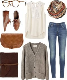 Hipster fashion. Fall fashion. Loose/large cardigan. Brown oxford shoes. Infinity scarf. Skinny jeans.