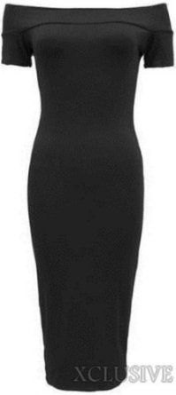 Amazon.com: New Womens Plus Size Short Sleeve Off Shoulder Bodycon Midi Dress: Clothing