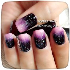 Black/Purple/Pink Glitter Nails