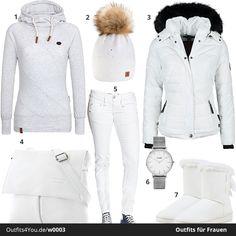 Weißes Winter-Outfit für alle Schneehasen. Warmer Naketano Hoodie, Navahoo Jacke und Winterboots. Passend dazu gibt es die Hose, Tasche und Mütze ebenfalls in Weiß. #weiß #outfit #style #fashion #naketano