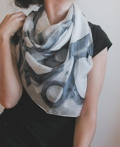 Hand painted silk shawl hand painted silk scarf | handpainted | black and white | b&w | minimalist fashion | neutral palette | neutral colors | summer scarf | summer fashion | fashion accessories | light scarf | square scarf | abstract art | foulard |