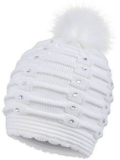 Arctic Paw Women Winter Warm Knitted Faux Fur Pom Pom Beanie Hat White ** Read more reviews of the product by visiting the link on the image. (This is an affiliate link)