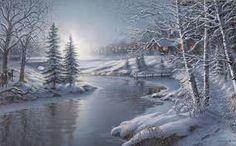 Résultats de recherche d'images pour «peinture à l'huile sur toile paysage d'hiver»