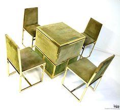 Compartments unfold Autographed Renato Meneghetti Cubo game table & chairs | DDD Design 1976 -