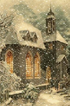 A white Christmas in a snow coat is a big boost to holiday magic! The choice of white for Christmas decorations also allows a result of the most chic, without fault of taste possible! Christmas Scenes, Noel Christmas, Vintage Christmas Cards, Christmas Images, Winter Christmas, Winter Snow, Victorian Christmas, Vintage Cards, Beautiful Christmas Pictures