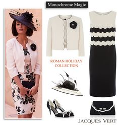 Jacques Vert Mother of the Bride outfit in black and cream. Scalloped dress matching corsage jacket, shoes, clutch bag and hat.
