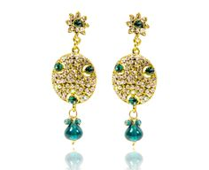 BOLLYWOOD STYLE WEDDING DROP EARRINGS  INDIAN BRIDAL GOLD / BLUE COLOR JEWELRY  #REEMAJEWELS #DropDangle