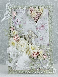 Kaleidoscopic Sparkles, Card with butterflies and flowers in all their Spring splendor