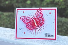 A Thanks Card with Butterflies Thinlits Dies from Stampin' Up! #thankyoucard, #butterflies, #pinkblingcrafter, #normapimentel, #watermelonwonder, #incolors, #handmadecards