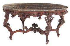 """Incredible Rococo Victorian walnut center table signed """"James G. Blake, 12 Cornhill, Boston"""""""