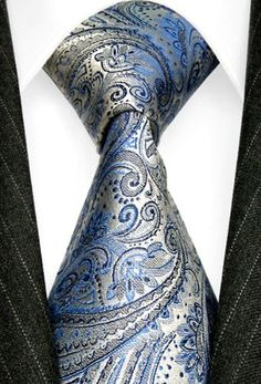 Amazon.com: LORENZO CANA Luxury Italian Silk Tie Blue Skyblue Silver Paisley Jacquard Woven Necktie 36006: Clothing