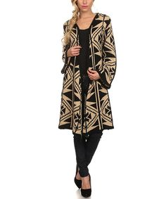 Another great find on #zulily! Beige & Black Geometric Hooded Open Cardigan #zulilyfinds