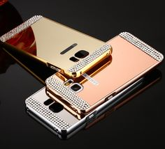 Galaxy S7, S7 Edge, S6, S6 Edge - Sparkling Mirror Case with Rhinestone Borders in Assorted Colors