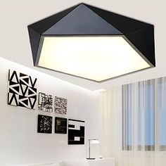 winson Led Ceiling Light New Creative Personality Geometry Acrylic Black Bedroom Study The Family Christmas decoration light -- You can find out more details at the link of the image.  This link participates in Amazon Service LLC Associates Program, a program designed to let participant earn advertising fees by advertising and linking to Amazon.com.