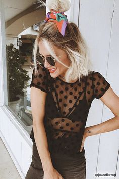 Product Name:Sheer Mesh Polka Dot Top, Category:CLEARANCE_ZERO, Price:12.9
