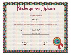 A colorful kindergarten diploma with a bold block design for the young graduate. Free to download and print