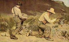Gustave Courbet.  Die Steinklopfer. 1849, Öl auf Leinwand, 165 × 257cm. Dresden, Gemäldegalerie.Gemälde 1945 verbrannt.Frankreich.Realismus.  KO 00195