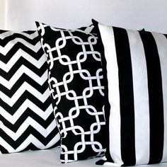 Black and White Pillow Covers - Three 18x18 inch Striped Chain Chevron Decorative Cushion Covers - Coordinating Set. $54.00, via Etsy.