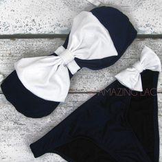 East Hampton Pretty Navy White Bow Sailor Bikini