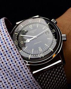 Longines Legend Diver on a steel mesh bracelet (X-post r/watches) Best Watches For Men, Amazing Watches, Luxury Watches For Men, Cool Watches, Mesh Bracelet, Bracelet Watch, Bracelets, Longines Watch Men, Gentleman Watch
