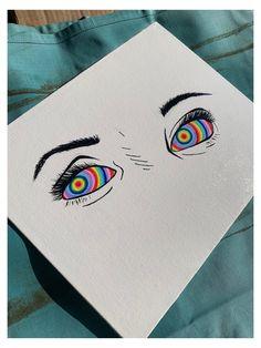 Indie Drawings, Trippy Drawings, Psychedelic Drawings, Cool Art Drawings, Art Sketches, Aesthetic Drawings, Aesthetic Painting, Small Canvas Art, Mini Canvas Art