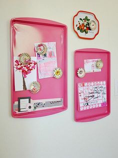 Spray painted cookie sheets for magnetic boards!