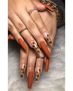 Cute Acrylic Nail Designs, Fall Nail Art Designs, Fall Acrylic Nails, Autumn Nails, Matte Nails, Gel Nails, Coffin Nails, Stiletto Nails, Cute Nails For Fall