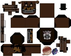 nightmare Fazbear by hollowkingking Five Nights At Freddy's, Paper Toys, Paper Art, Origami, Pikachu, Playing Cards, Birthday Parties, Jumping Jacks, Templates