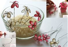Flowers made with wire and nail polish.  They look so delicate and pretty the way the light comes through.