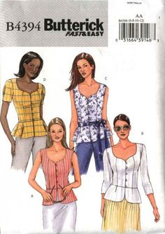 Butterick Sewing Pattern 4394 Misses Size 6-12 Easy Button Front Peplum Blouse Top Sleeve Variation Butterick+Sewing+Pattern+4394+Misses+Size+6-12+Easy+Button+Front+Peplum+Blouse+Top+Sleeve+Variation